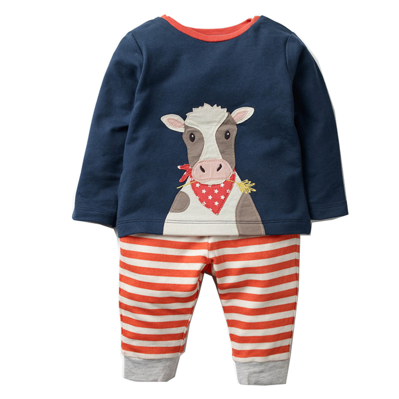 2019 Boys Set With Animal Applique Sweatshirt+Pants Autumn Winter Children  Clothing Sets Kids Back To School Outfit Baby Boys Clothes From