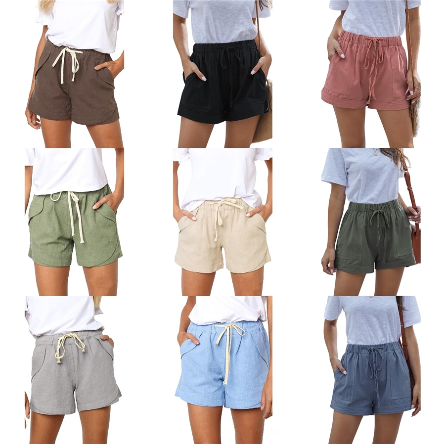 /♦ NDGDA Womens Summer Cotton Sports Casual Embroidered Shorts Ladies Home Shorts Clearance Sale