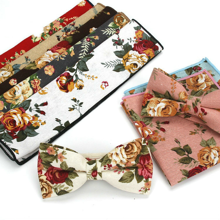 Mens Cotton Printing Bow Tie Collar Flowers