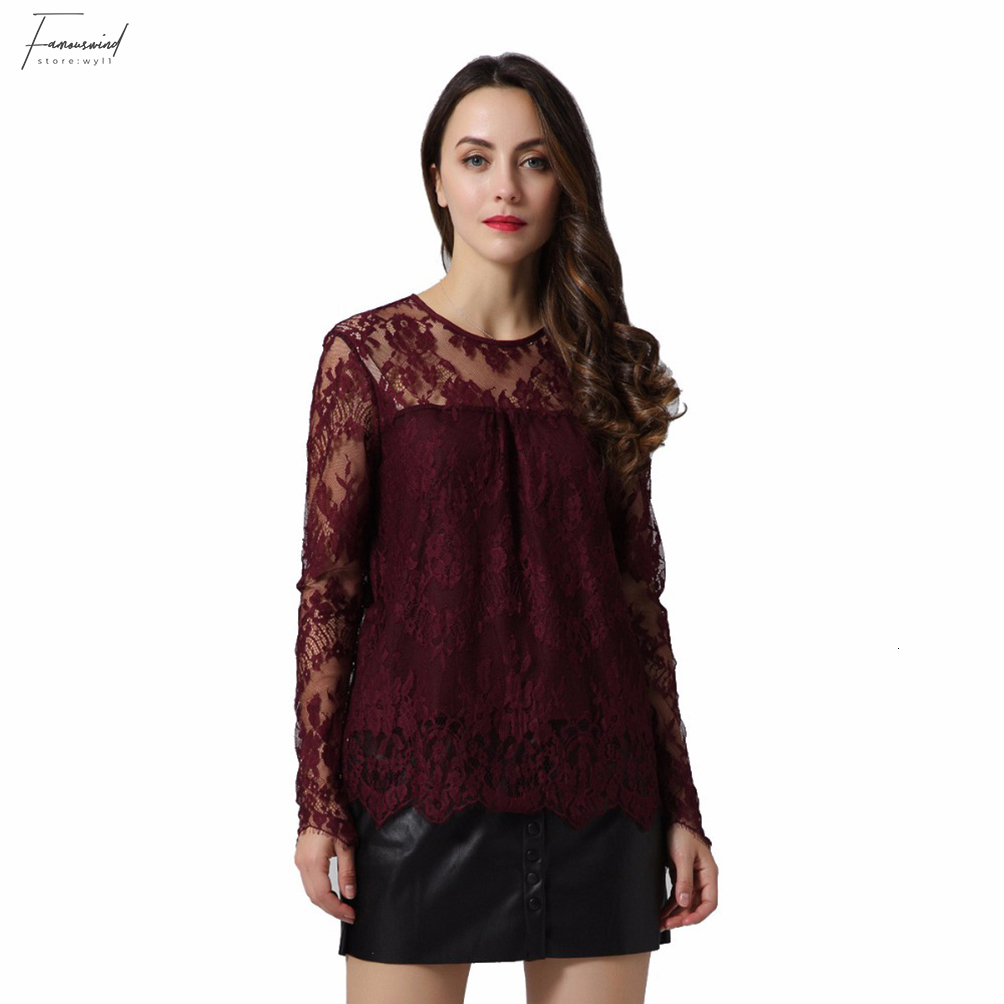 Women vintage transparent wine lace long sleeve o neck blouse in various colors