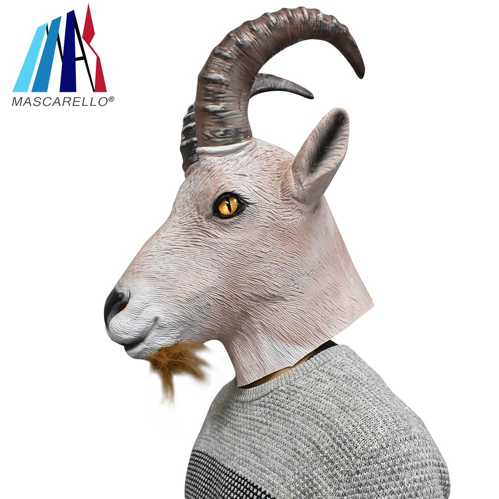 White Goat Mask Latex Ram Animal Head Halloween Costume Party Fancy Dress