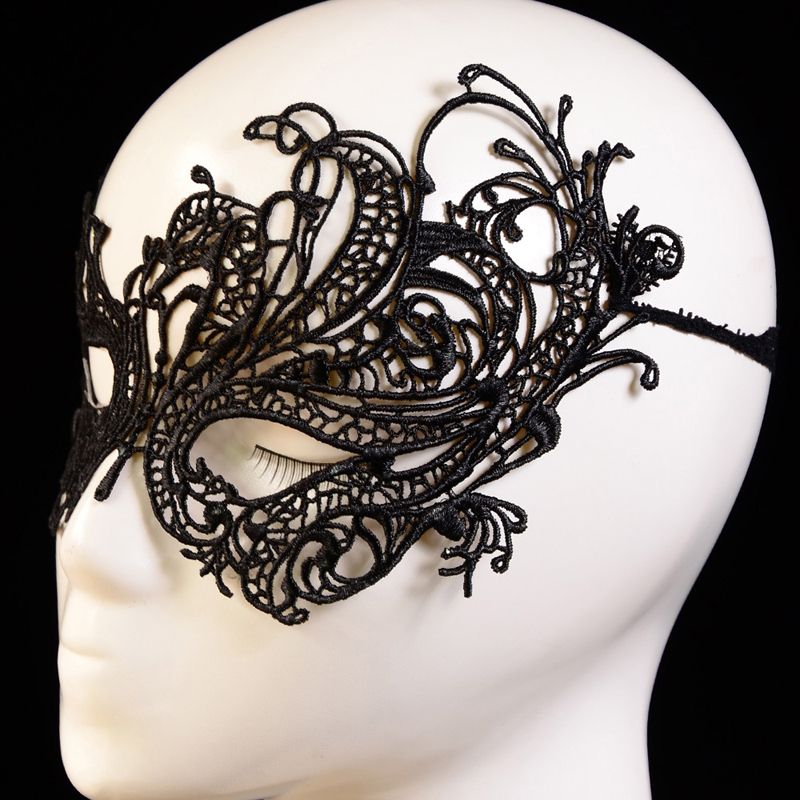 Black Lace Mask For Cosplay Floral Sexy Lady Masque Cutout Halloween Mask Masquerade Masks Party Fancy Dress Costume Blindfold