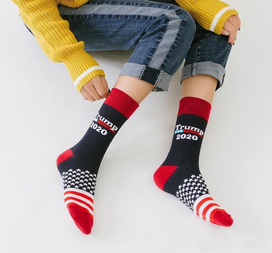 Trump 2020 Socks Striped Stars Football Sockings Unisex Donald Trump President Letter Printted Socks For Man Woman Party Gift DHL free DMA01