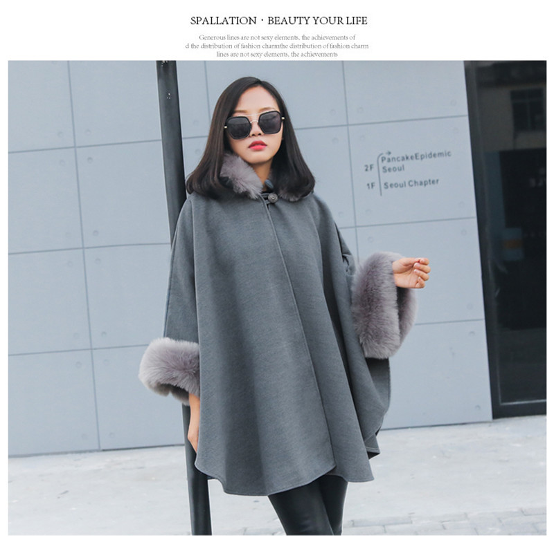 faux fur collar cloak style wool blend outerwear-10