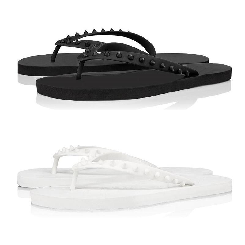 2020 red bottoms men slippers fashion slides triple black white yellow spikes mens flat flip flops beach hotel platform sandals size 40-46