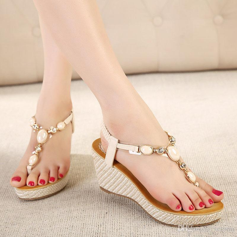 Charm2019 Sandals Gladiator Women Bohemia High Platform Wedges Beach Sandal Flip Flops Casual Shoes Sandals Women LX-041