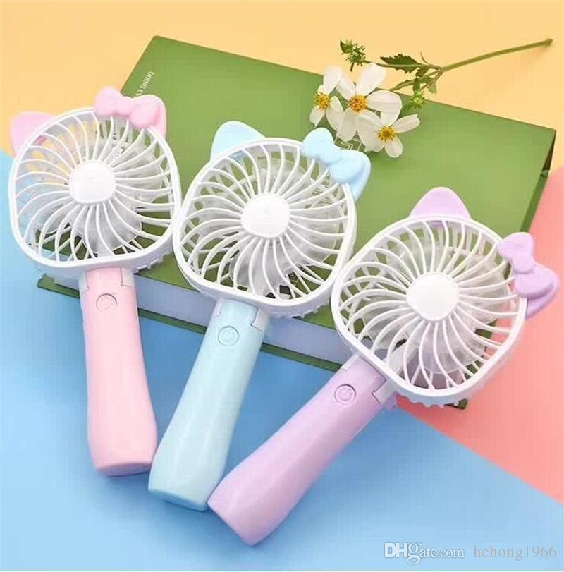 Color : 03 Air Cooler Handheld Portable USB Fan Simple Cute Cartoon Cooling Electric Fan Outdoor Night Colorful Light Fans