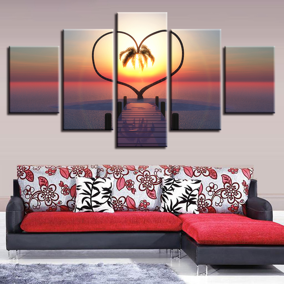 Canvas Printed Pictures Home Decor Frame Ocean Hearts Tree Paintings Sunrise Bridge Landscape Poster Modular Wall Art