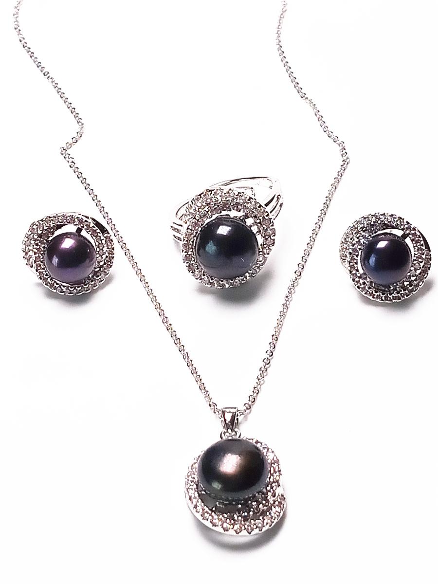 Novas Mulheres Natural Black Freshwater Pérola Colar Brincos Anel Set 925 Sterling Silver Set
