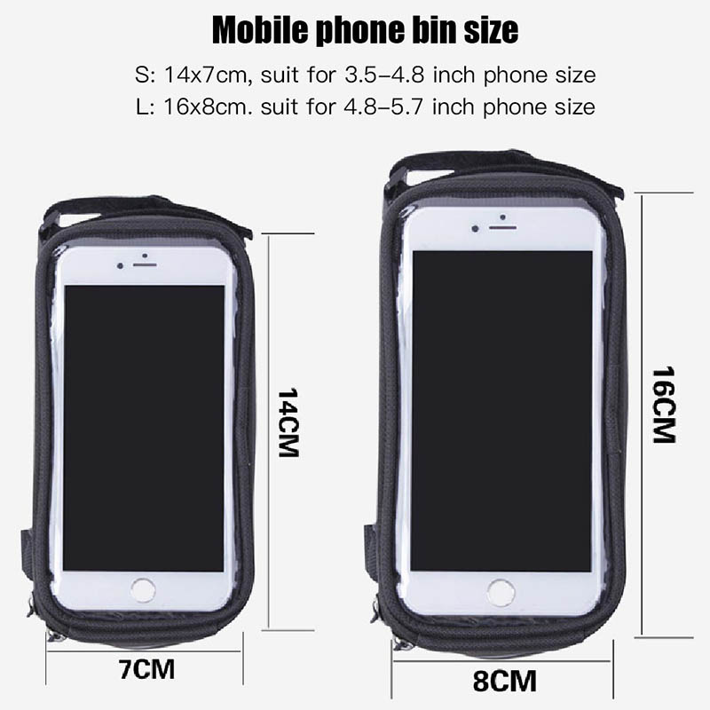 Bicycle Phone Bag Case Touch Screen Waterproof Bike Frame Front Tube Storage Bag Pouch Case for iPhone Samsung 3.5-6 inch Phones (1)