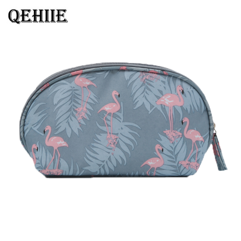 QEHIIE Brand Fashion Lady Cosmetic Bag Flamingo Women Waterproof Travel Makeup Pouch Organizer Case makeup bag