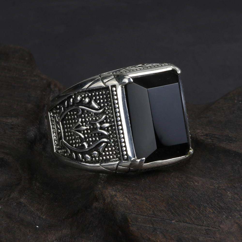 Vintage Ring Men Real Pure 925 Sterling Silver Jewelry Black Obsidian Natural Stone Rings For Mens Punk Rock Fashion C18112301