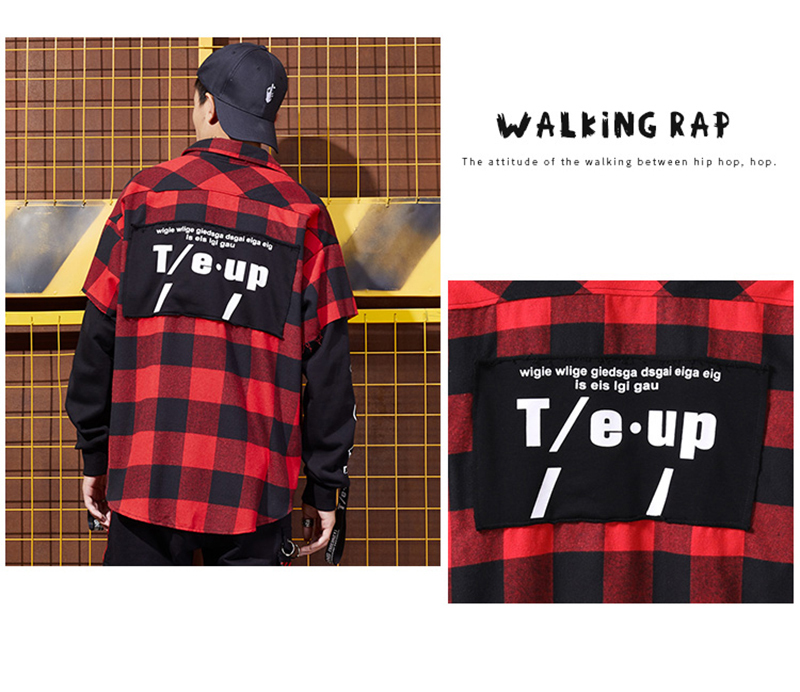 Red And Black Plaid Patchwork Shirt Men (6)