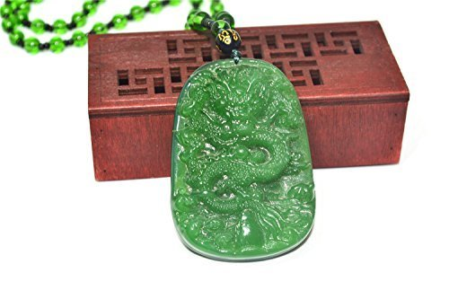 Natural Green Hand-carved Dragon Jade Pendant Necklace Jewelry Gift Gemstone Wholesale