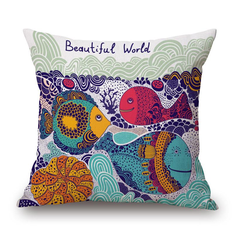 Cartoon Fish Hold Pillow Case Sofa Cushion Gift Customized