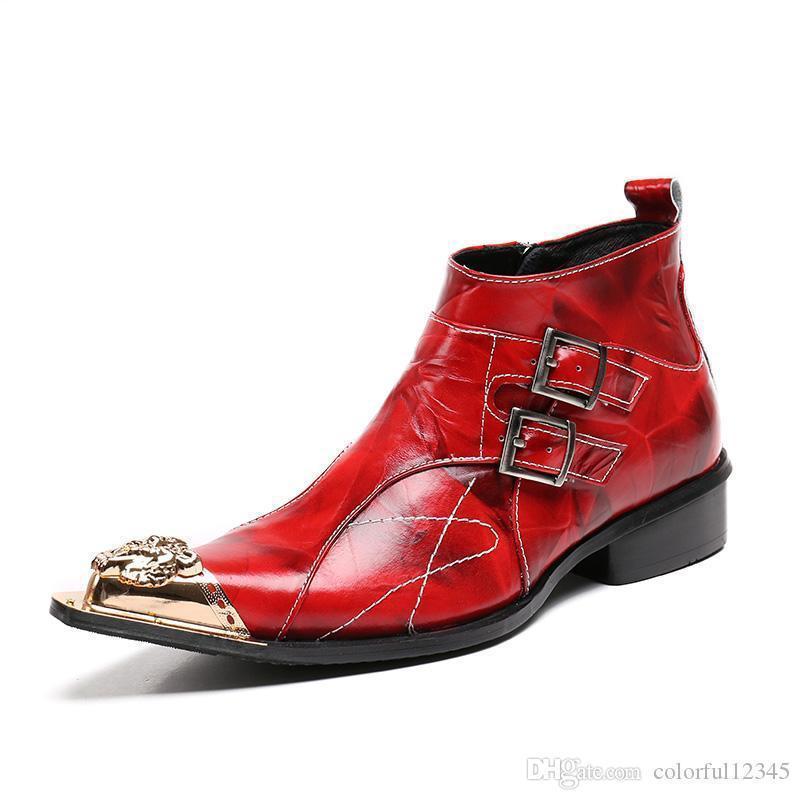 Sexy2019 Italien Style Pop Personnalisé Cheville Bottes Hommes En Cuir Véritable Chaussures Vin Rouge Pointe Pointue