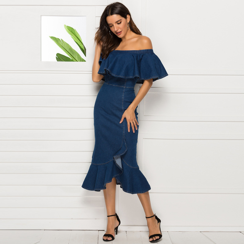 Dress Summer 2019 Explosive Money Sexy Tighten Package Buttocks Lotus Leaf Edge One Word Shoulder Dress Europe And America Amazon Ins