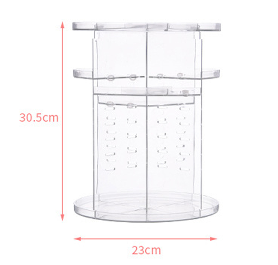 Makeup Organizer 360 Rotating Adjustable Storage Box Plastic Clear AcrylicTransparent Box Jewelry Necklace Nail Polish Cosmetic (4)