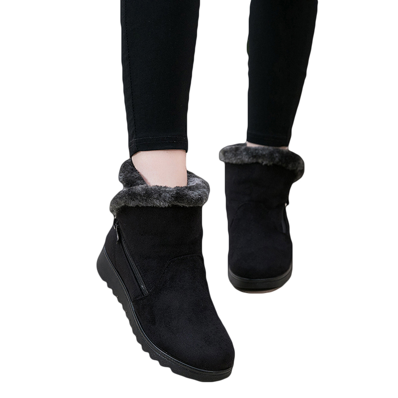 Women Snow Boots Warm Short Fur Plush Winter Ankle Boot Plus Size Platform Ladies Suede Zip Shoes Female Comfort Low Heels 2018
