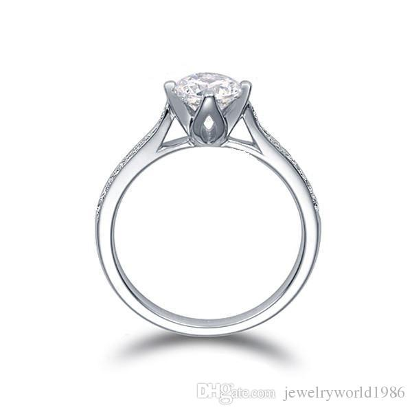 Fine US GIA certificate 18K white gold 1 ct moissanite engagement rings for women,hearts and arrows,wedding diamond rings