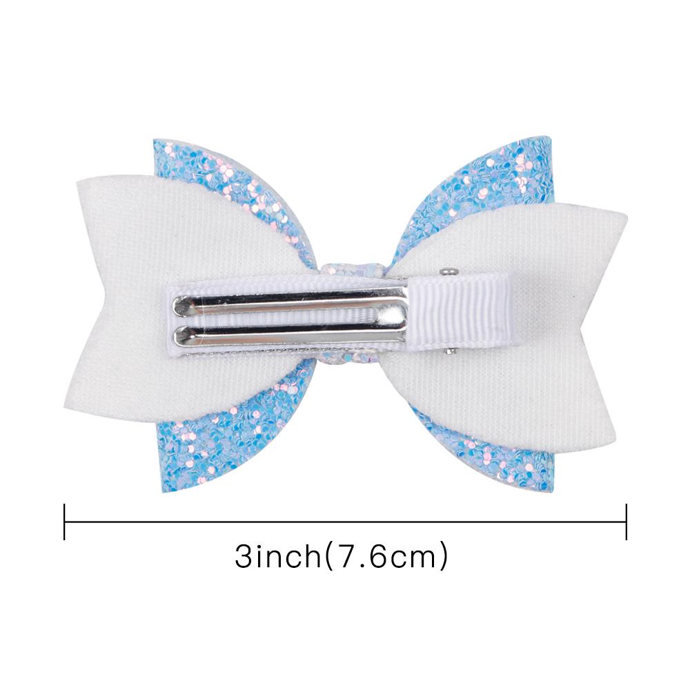 3 `` Princ Lovely Hair Bows para niñas Bling Glitter Hair Clip Hairbins Print Cejas Swallowtail Hair Accories