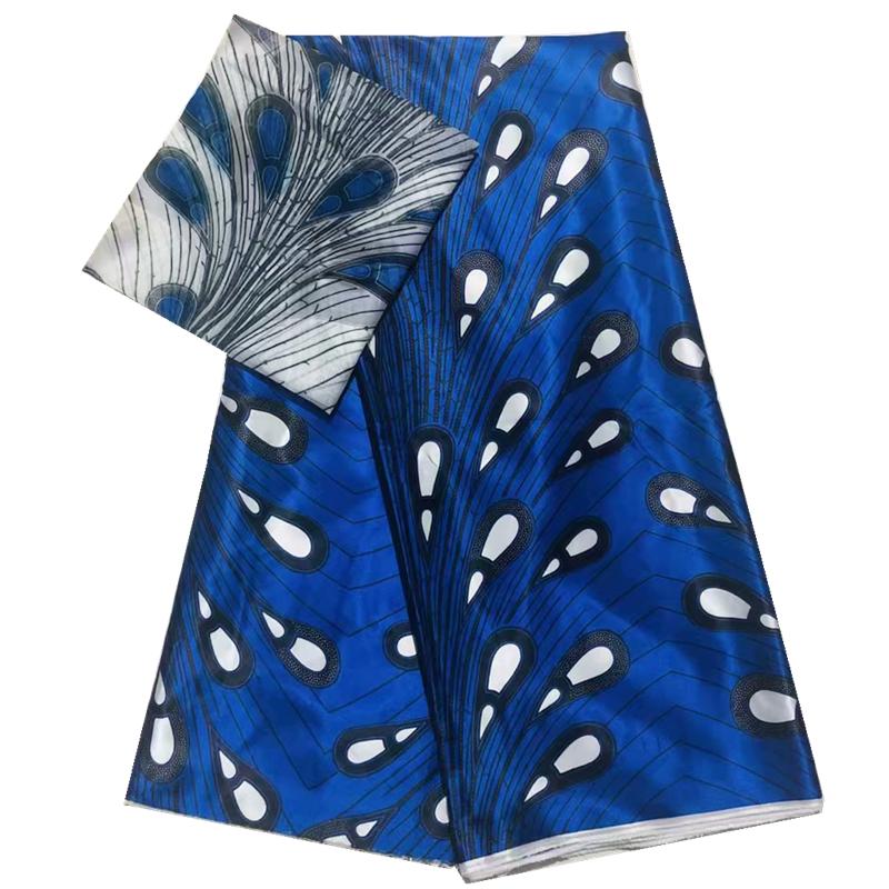 Venda quente belo tecido ancara africano estampas de cera tecido de cetim de seda tecido de chiffon africano 4 jardas + 2 jardas / peça para o vestido