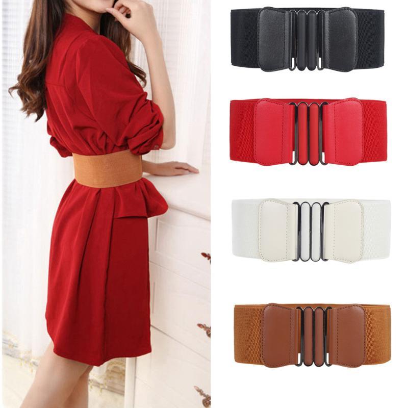 Belts Elastic Leather Women Wide Waist Hip Stretch Ladies Solid Fashion Female