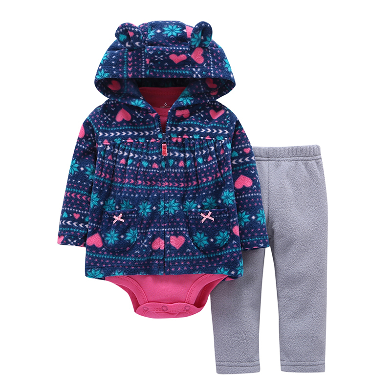 BABY GIRL BOY CLOTHES cartoon bear hooded jacket+rompers+pant autumn winter outfit costume unisex newborn set infant clothing