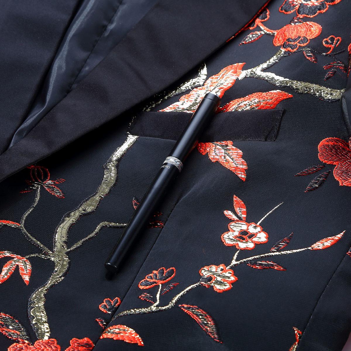 Pyjtrl New Red Gold Blue Green Brocade Ricamo Floral Birds Pattern Slim Fit Blazer Disegni Uomo Suit Jacket Stage Singer Wear J190422