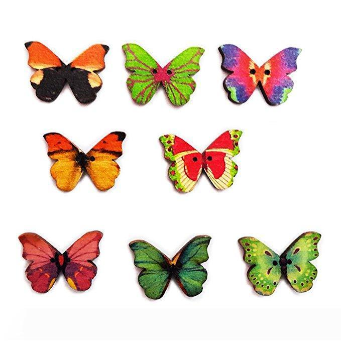 100 Stück 2 Loch bunte Schmetterling Form Holznähknopf für DIY