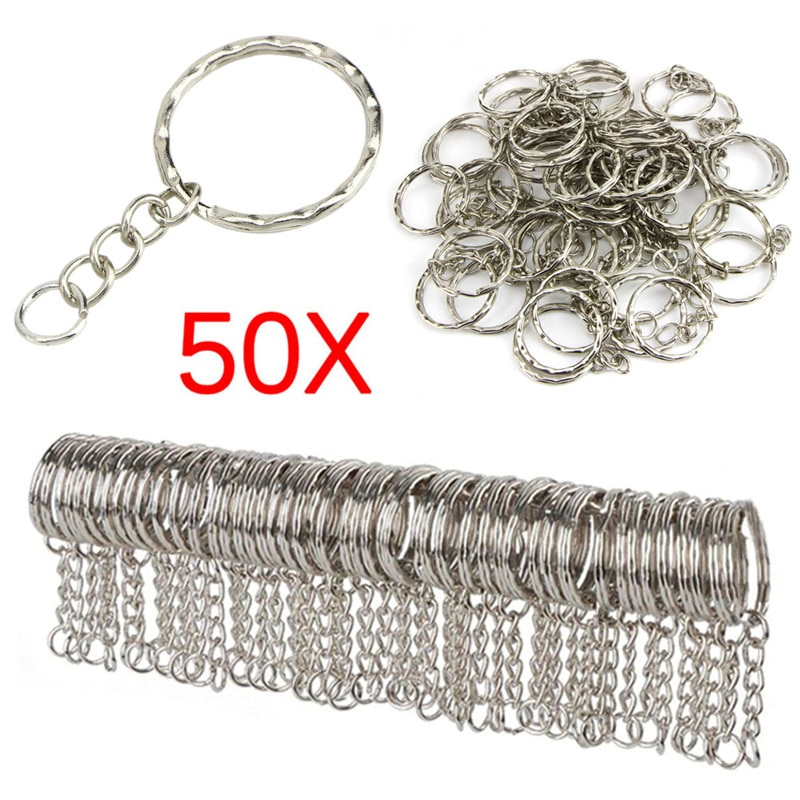Key Ring with Chain and Open Jump Rings 50Pack