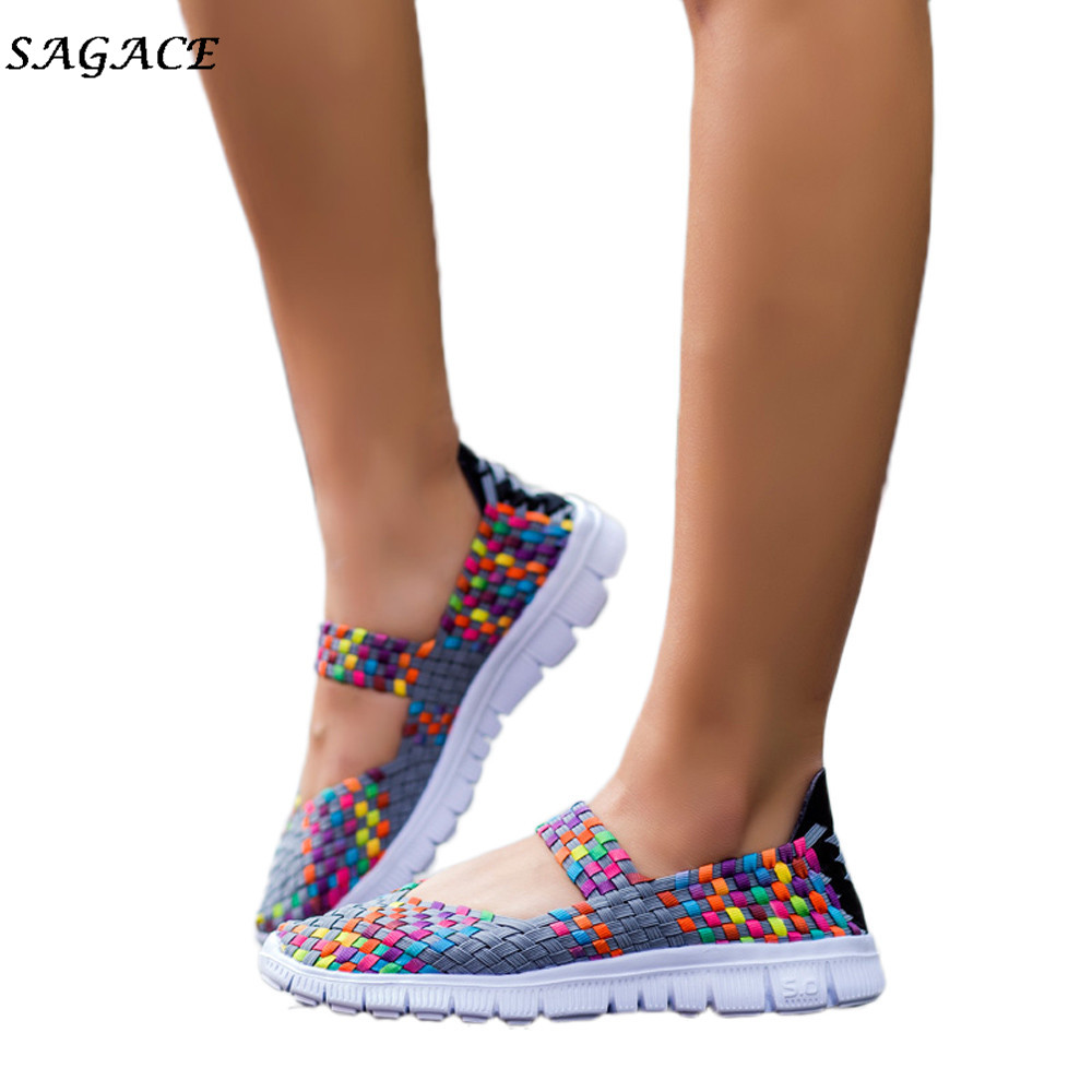 2019 Dress CAGACE 2018 Casual shoes for women Soft Girls Sneaker Spring Summer Woven Lady Breathable Light Weight travel Shoes