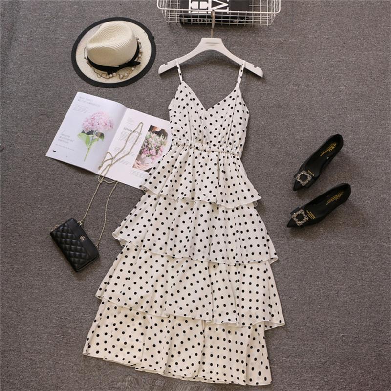 Chiffon Summer Dress Women 2019 Casual Plus Size A Line Dresses Female Elegant Sexy Long Party Dress White Dot Beach Sundress MX190725