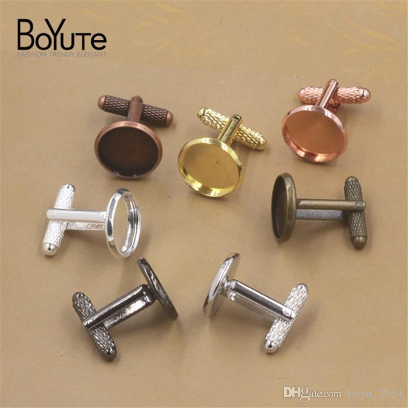 BoYuTe Round 12MM 14MM 16MM 18MM 20MM Cabochon Base Cufflinks Blank Tray Bezel Diy Jewelry Findings ComponentsRed Copper Plated