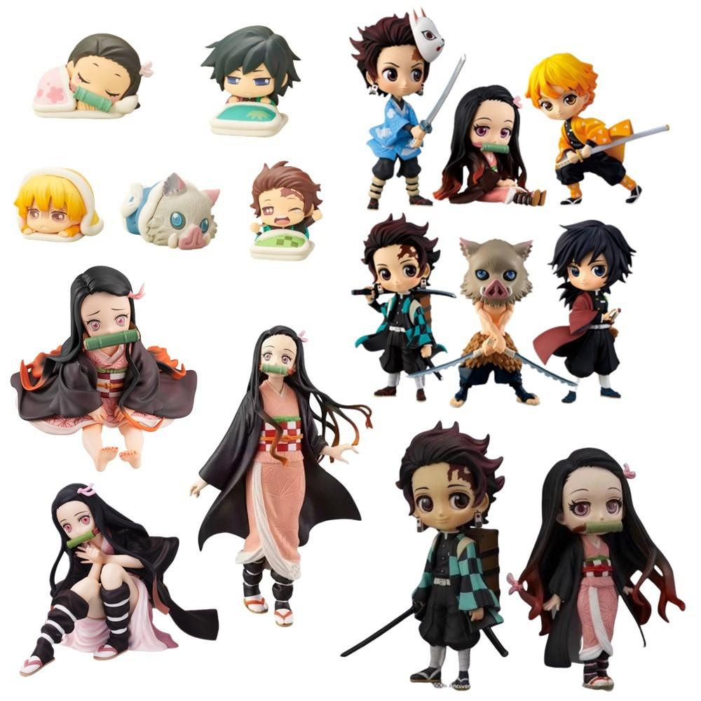 Demon Slayer Kimetsu no Yaiba Anime Action Figures Kamado Nezuko Tanjirou Inosuke Giyuu Zenitsu Kawaii Cute Toys Doll Figma Gift