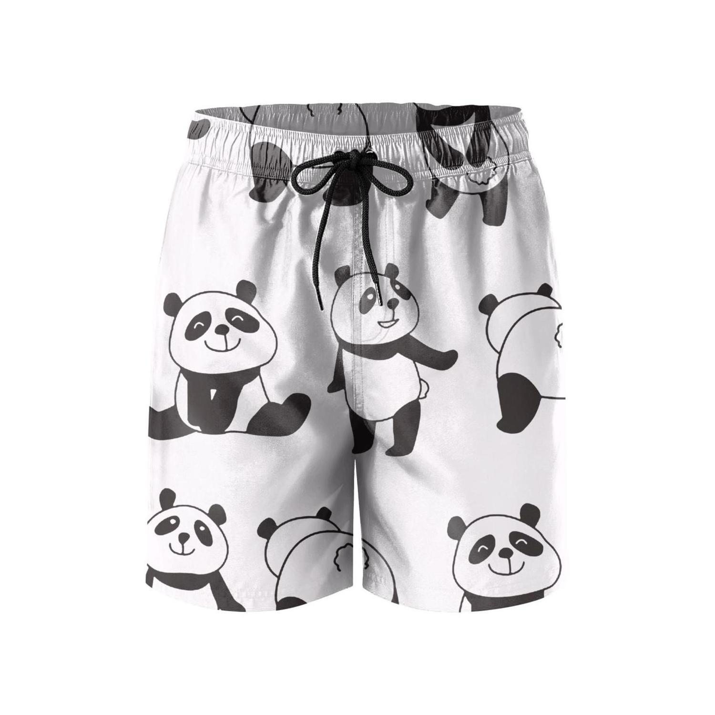 Mens Cartoon Love Panda Summer Holiday Quick-Drying Swim Trunks Beach Shorts Board Shorts