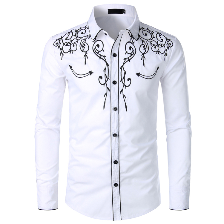 Alion Mens Long Sleeve Embroidered Shirt Slim Fit Casual Button Down Shirts