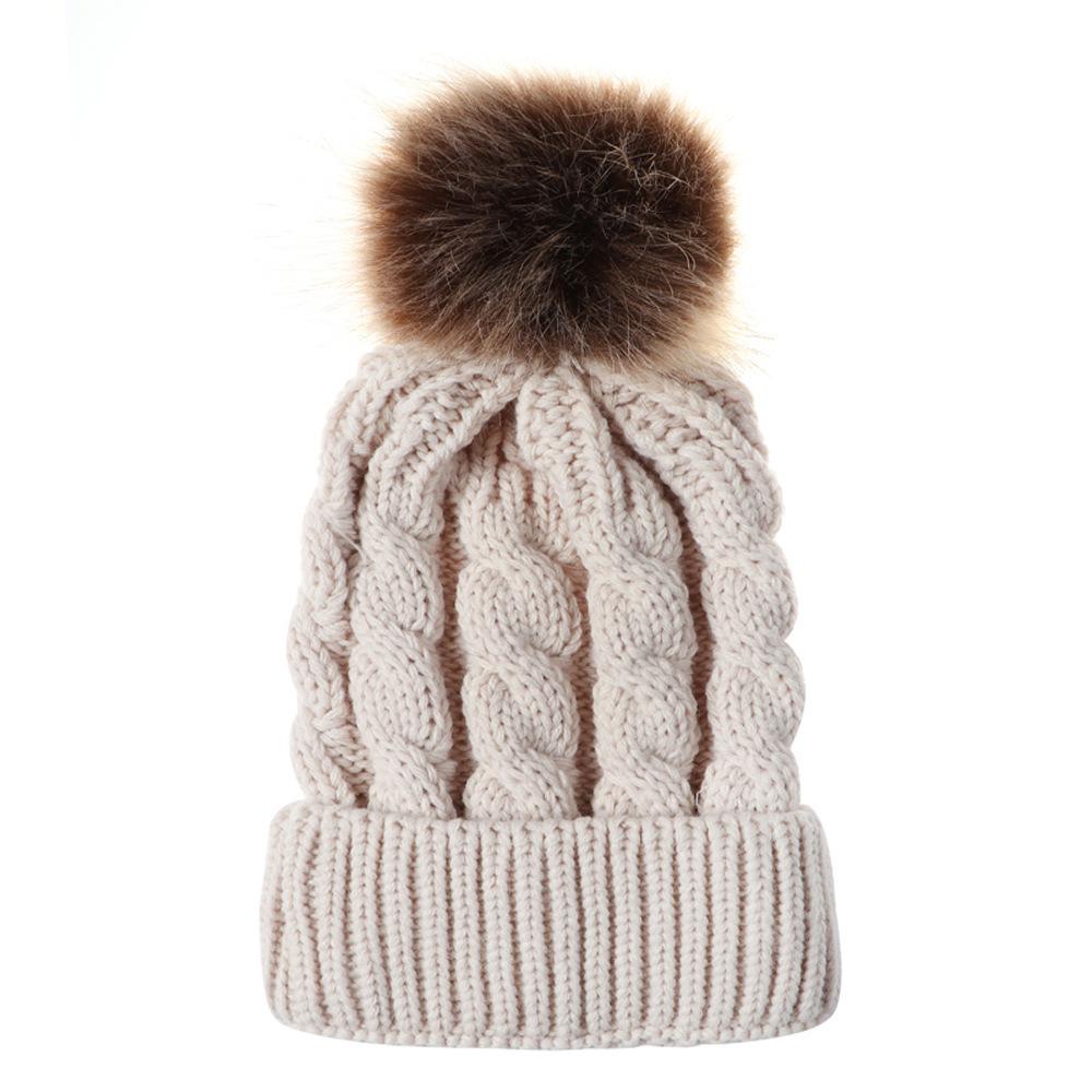 Foreign Trade Autumn And Winter The Ball Ball Hemp Flowers Knitting Hat Keep Warm Woman Parenting Imitate Raccoon Hair Bulb Wool Hat