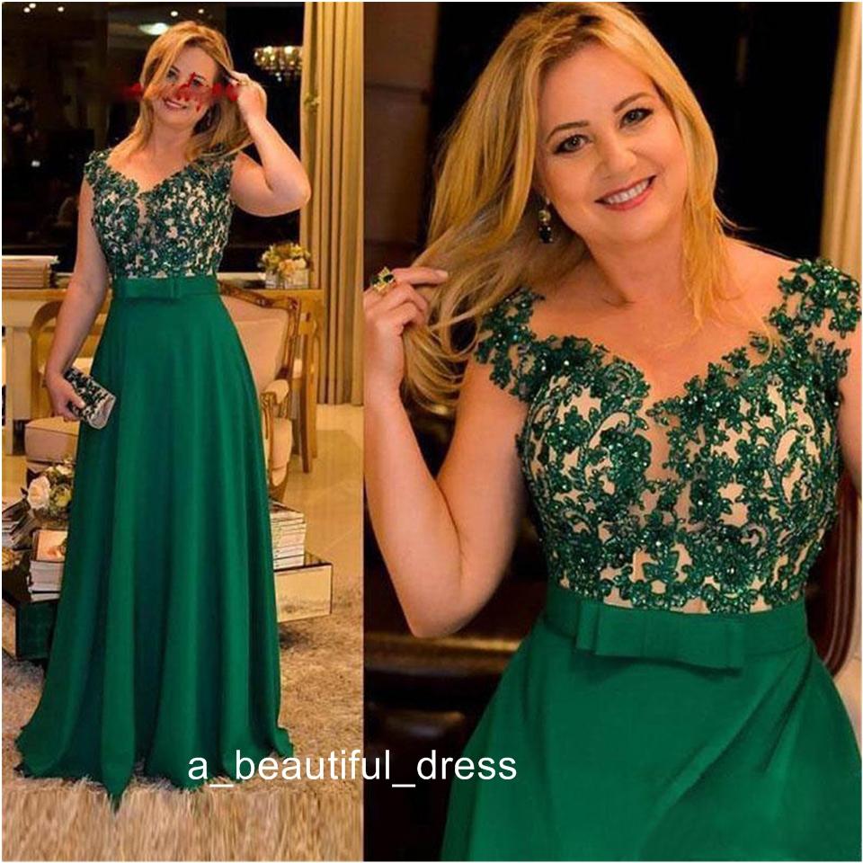 Dark Green Spitze-Mutter der Braut-Kleider für Hochzeiten Abendessen Plus  Size-formale Partei-Kleider Bräutigam Godmother Abendkleid ED13