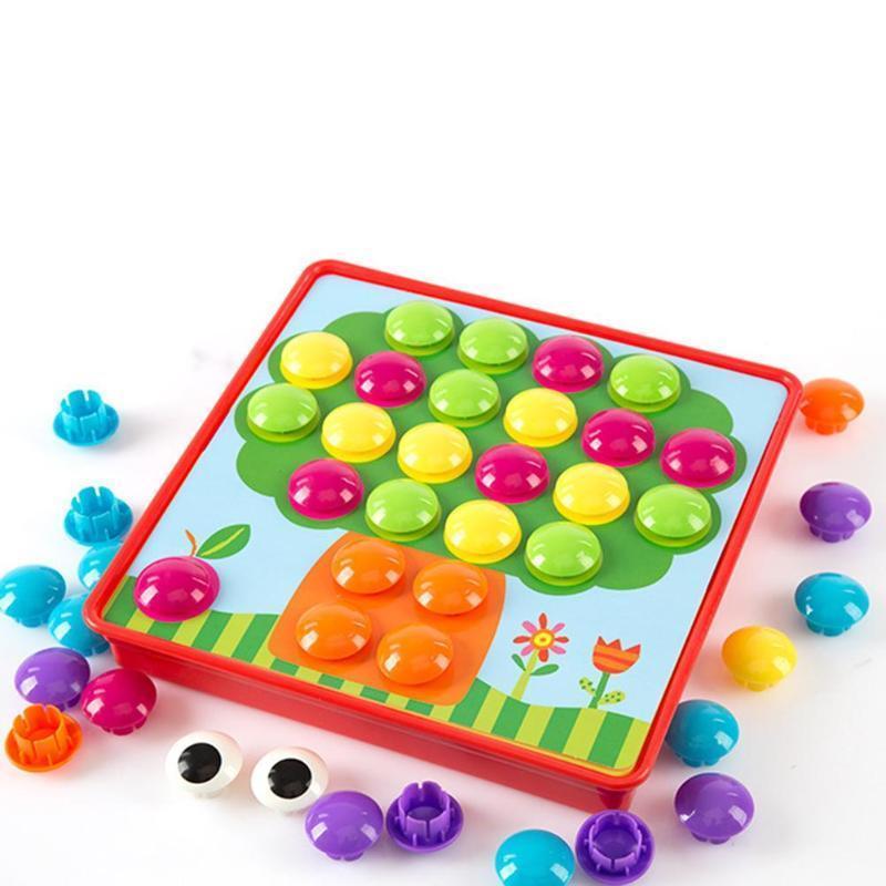 Детские 3d Красочные Кнопки Сборка Грибов Набор Гвоздей Детские Мозаика Композитные Картинки Пазлы Доска Развивающие Игрушки