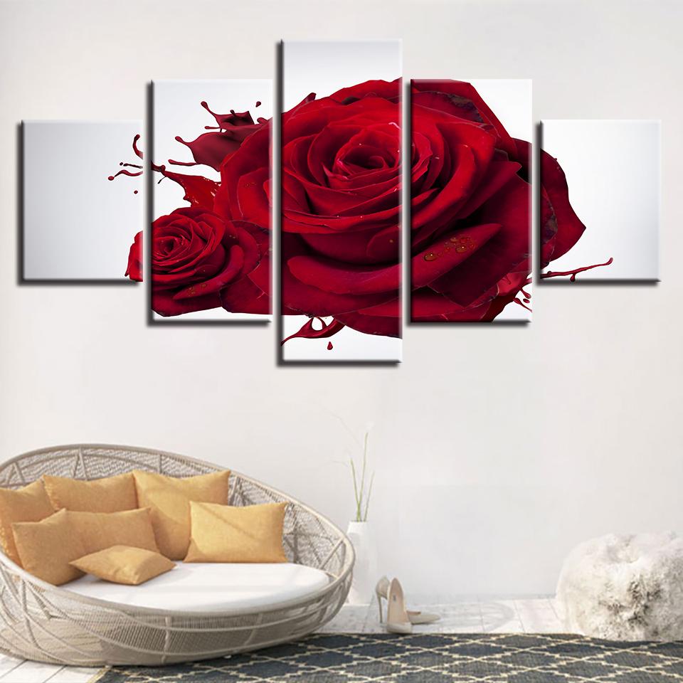 Peinture HD Imprimé Moderne Mur Art Affiche Modulaire 5 Panneau Rouge Rose Fleurs Cadre Photos Salon Salle De Toile Décor À La Maison