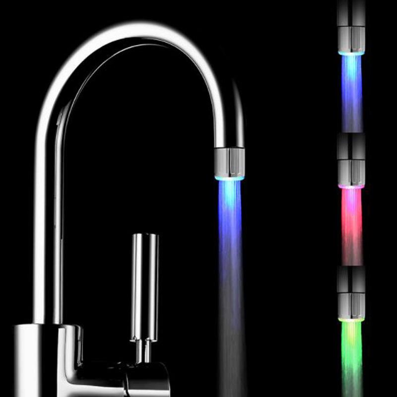 Led wasserhahn farbe ändern swivel auslauf hahn küche dekoration 7 farbe