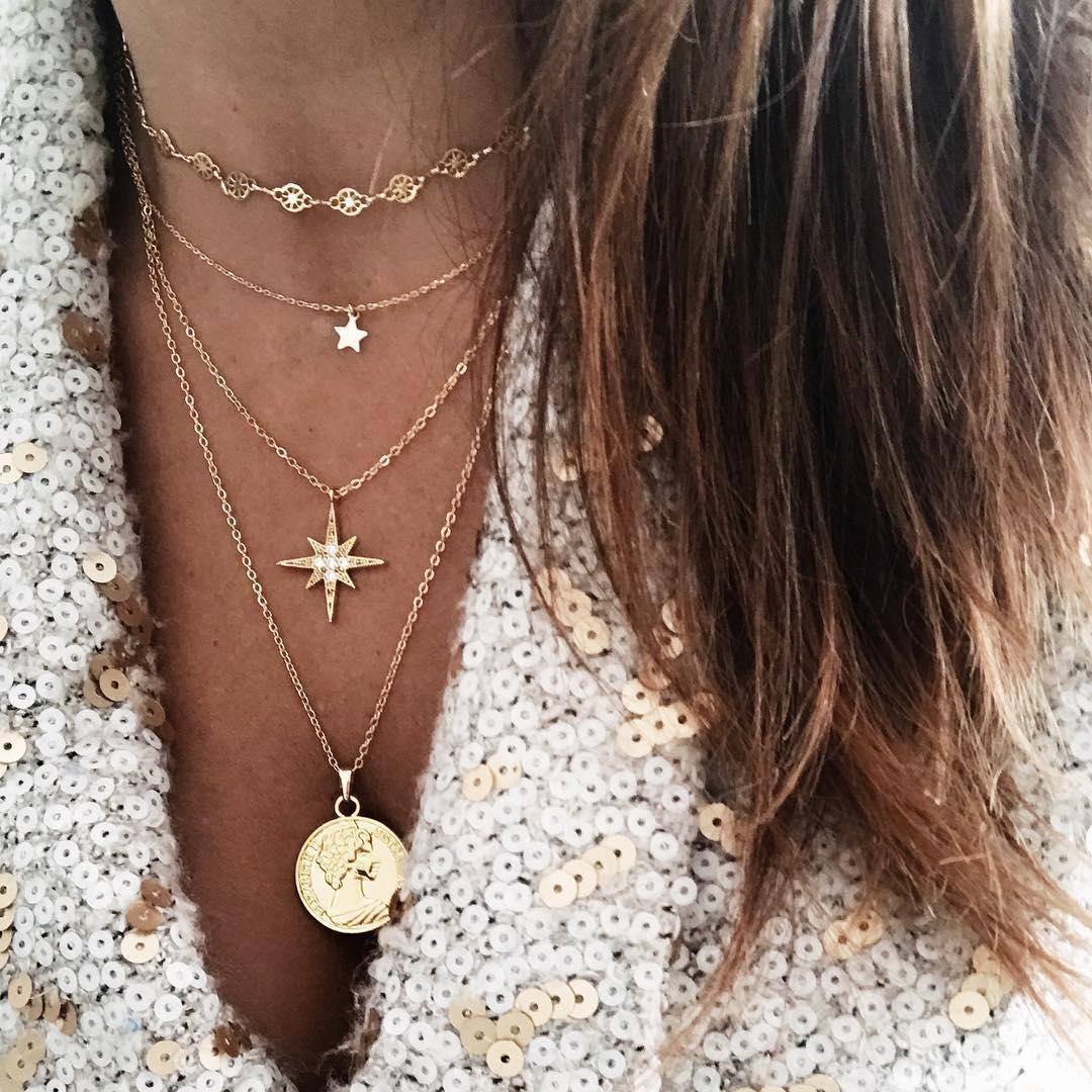 Collar Estilo Boho Lentejuelas moneda colgantes gargantilla de Playa Larga Mujer Joyas