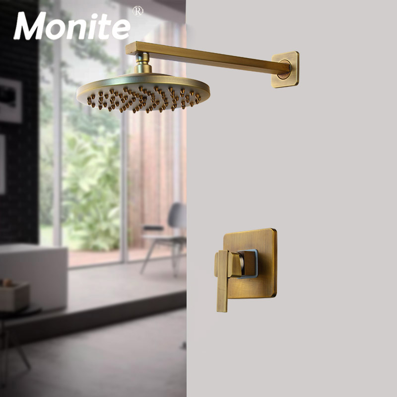 Monite 8 inch Antique Brass Round Wall Mounted Bathroom Rainfall shower faucet Sets head & hand shower Shower Sets