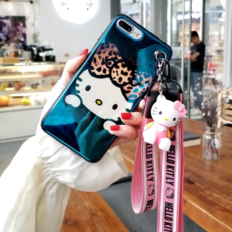 İphone x hello kitty durumda, sevimli kt yumuşak arka kapak iphone 8 8 artı 7 7 artı 6 6 s 6 artı mavi ışın telefon kapağı + oyuncak + kayış