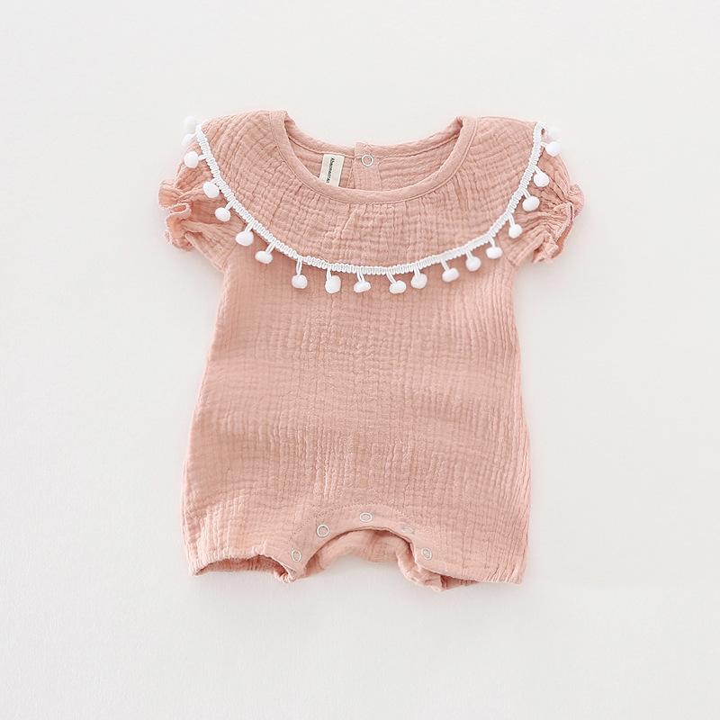 Cute Newborn Baby Girl Romper 2017 Summer short sleeve Princess fur ball Sunsuit One Pieces Tassel Clothes free drop shipping (14)