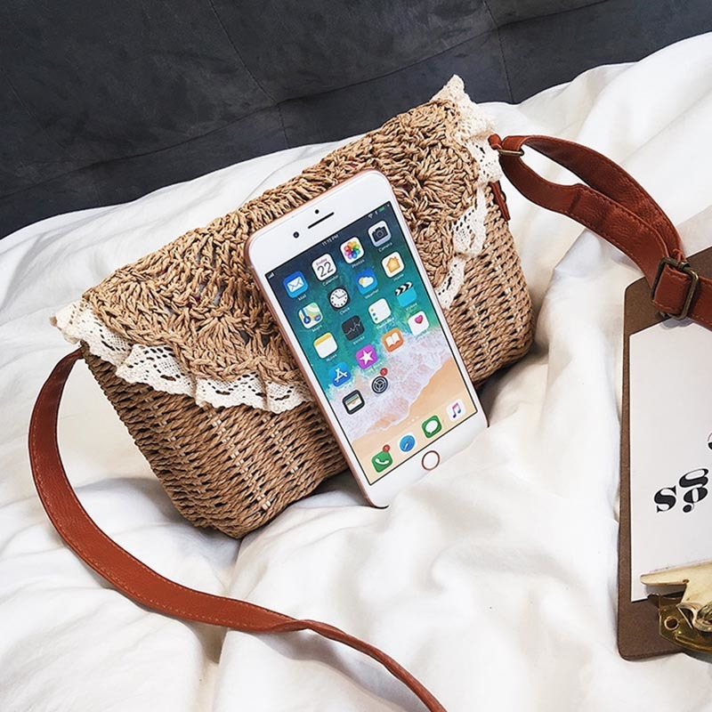 Women Lace Straw Bags INS Popular Female Holiday Handbag Summer Hot Lady Weave Shoulder Bag Travel Beach Casual Bolsa SS3150 (6)