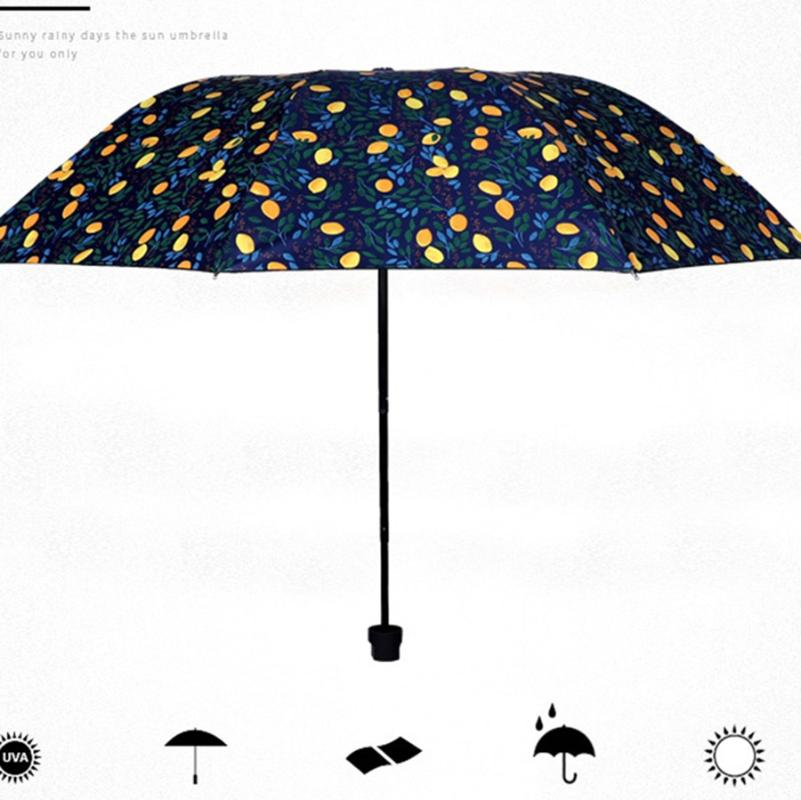 Transparent Cherry-Blossom Imprimé Pliable Soleil Pluie Parapluie Princess Parapluie JS