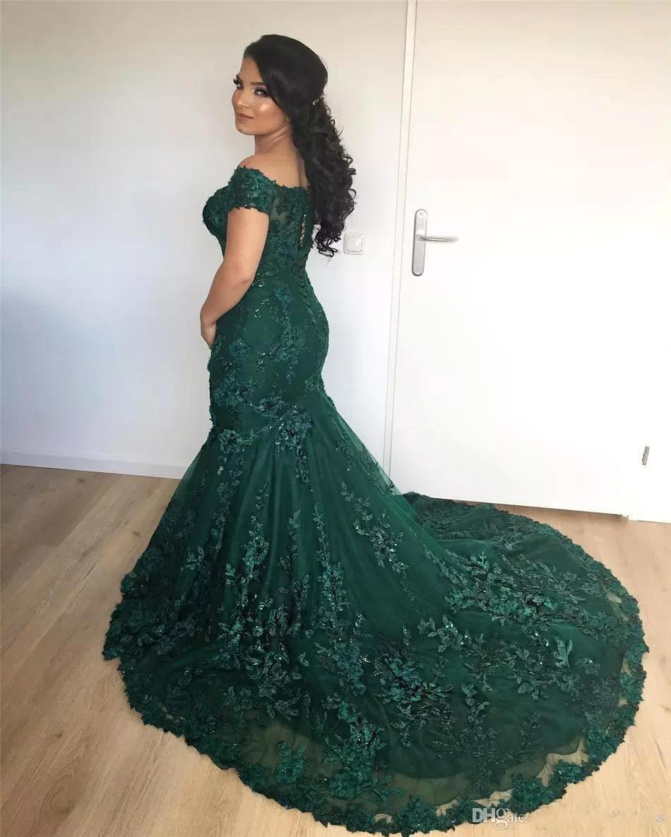 Sparkly Dark Red Mermaid Prom Dresses 2018 Arabic African Off the Shoulder Lace Sequins Corset Back Long Prom Gowns Vintage Wear BA7204