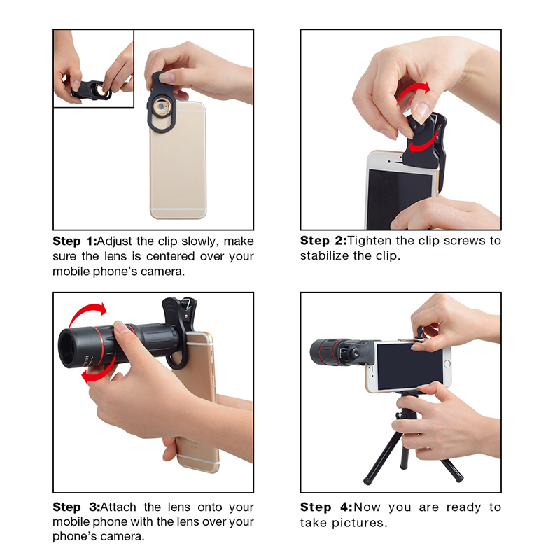 TOKOHANSUN Telefon Universal 18X Telescope Zoom Telescope Mobile Phone Lens 18X Lens for IPhone Xiaomi Huawei Smartphones